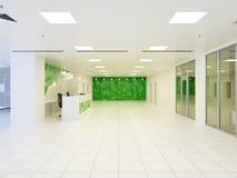 3d抽象现代大厅的例证办公楼的 库存图片