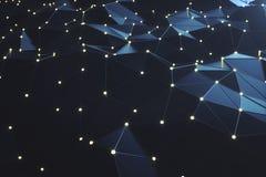 3d抽象背景翻译 与连接线的低多滤网和发光的小点或者点 2010计算微软smau的云彩 喂 免版税库存图片
