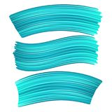 3d抽象蓝色画笔冲程 套五颜六色的液体 向量例证