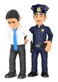 3D拘捕窃贼的警察 白领罪犯 库存例证