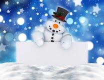 3D拿着一个空白的标志的雪人 免版税库存图片