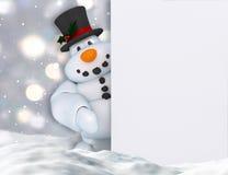 3D拿着一个空白的标志的雪人 库存图片