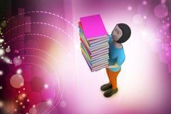 3d拿着书,教育概念的妇女 库存图片