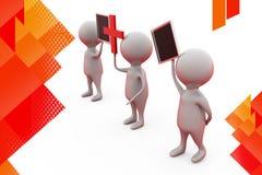 3d拿着加号和委员会例证的人 免版税库存照片