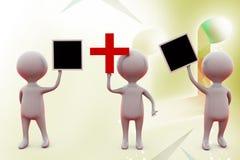 3d拿着加号和委员会例证的人 库存图片