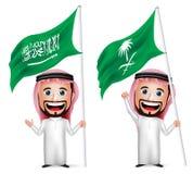 3D拿着和挥动沙特阿拉伯旗子的现实沙特阿拉伯人漫画人物 免版税库存照片