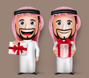 3D拿着和给礼物的现实沙特阿拉伯人漫画人物 库存照片