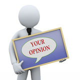 3d拿着您的观点委员会的人 免版税库存照片
