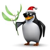 3d拿着某一槲寄生的企鹅 库存图片