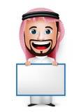 3D拿着空白的白板的现实沙特阿拉伯人漫画人物 库存图片