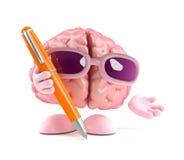 3d拿着笔的脑子 免版税库存图片
