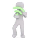 3d拿着绿色Wi-Fi标志的印度桃花心木 免版税库存图片