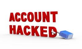 3d挂锁帐户被乱砍的概念 免版税库存图片