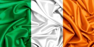 3d挥动在风的爱尔兰的旗子 免版税库存图片