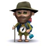 3d探险家准备好冒险 向量例证