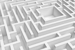 3D接近的白方块迷宫consruction的翻译 免版税库存图片