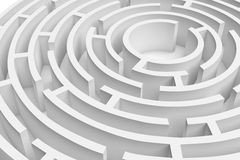 3D接近的白色圆的迷宫consruction的翻译 免版税图库摄影