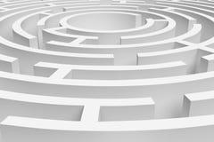 3D接近的白色圆的迷宫consruction的翻译 免版税库存图片