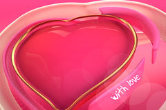 3d提取爱的心脏在梯度背景的 免版税库存图片