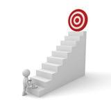 3d提高对他成功的目标的商人在台阶顶部 库存图片