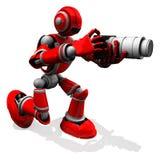 3D摄影师机器人与平的照相机白色变焦镜头的红颜色姿势 库存照片
