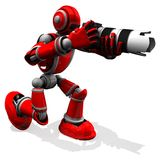 3D摄影师机器人与DSLR照相机的红颜色姿势 库存图片
