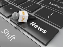 3d新闻话筒和键盘有词新闻的 皇族释放例证