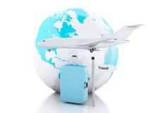 3d旅行手提箱、飞机和世界地球 汽车城市概念都伯林映射小的旅行 图库摄影