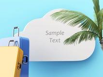 3d旅行概念 旅行手提箱和棕榈树 免版税库存照片