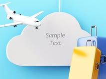 3d旅行概念 飞机和手提箱 免版税库存照片