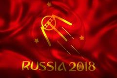 3D旗子翻译世界橄榄球的2018年-世界足球比赛在俄罗斯 库存图片