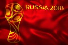 3D旗子翻译世界橄榄球的2018年-世界足球比赛在俄罗斯 图库摄影