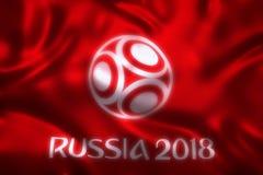 3D旗子翻译世界橄榄球的2018年-世界足球比赛在俄罗斯 库存照片