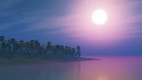 3D日落的棕榈树海岛 图库摄影