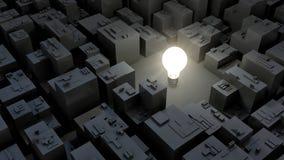 3d明亮的电灯泡和城市,绿色能量概念的图象 免版税库存图片