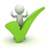 3d显示与绿色校验标志的人赞许在白色 免版税图库摄影