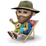 3d晒日光浴在轻便折叠躺椅的探险家 免版税图库摄影