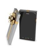 3d智能手机翻译在礼物盒的在白色 库存照片