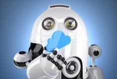 3d有云彩计算的标志的机器人 Tchnology概念 Containsclipping道路 免版税图库摄影