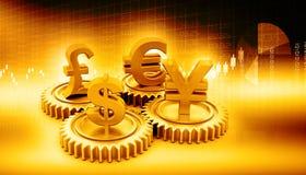 3d有全球性货币的齿轮 库存图片