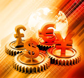 3d有全球性货币的齿轮 库存照片