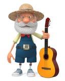 3d有吉他的例证滑稽的农夫 库存照片