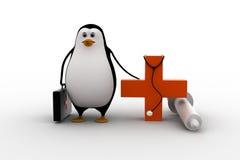 3d有听诊器,射入和医疗的企鹅医生加上标志概念 免版税图库摄影