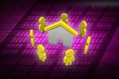 3d有家的,房地产概念人们 库存照片
