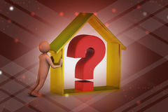 3d有房地产事务的人与问号 免版税库存照片