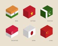 3d有旗子的箱子:印度,越南,中国,新加坡,巴基斯坦,日本 免版税库存照片