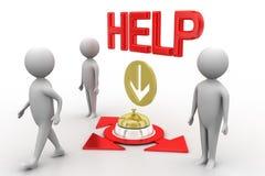 3d有服务响铃和帮助例证的人 免版税库存图片