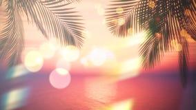 3D有棕榈树叶状体和葡萄酒作用的日落海洋 向量例证