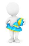 3d有游泳圆环和球的白人 免版税库存照片