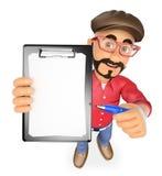 3D有空白的剪贴板和笔的电影导演 免版税图库摄影